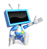 Blue TV character is powerful running. Create 3D Television Robo Royalty Free Stock Photography