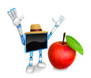 Blue TV character are surprised to see the big apple.  Create 3D Stock Photos