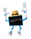 Blue TV  farmer Character dynamic jumping. Create 3D Television Stock Images