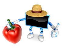 Blue TV farmer Character right hand sweet-pepper. The best gestu Stock Photo