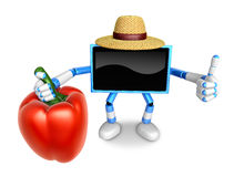 Blue TV farmer Character right hand sweet-pepper. The best gestu Stock Image
