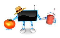 Blue TV farmer Character right hand, tomato in the left hand hol Stock Photo