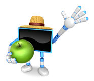 Blue TV farmer mascot the right hand guides and the left hand is Royalty Free Stock Photos