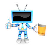 Blue TV Mascot the left hand best gesture and right hand is hold Royalty Free Stock Photography
