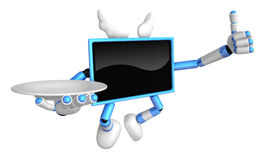 Blue TV Mascot the right hand best gesture and the right hand is Royalty Free Stock Images