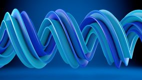 Blue twisted spiral shape 3D rendering Royalty Free Stock Photo