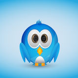 Blue twitter bird. Cute blue twitter bird with blue background Royalty Free Stock Photography