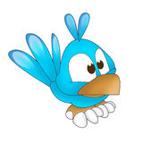 Blue twitter bird funny. Illustration of a funny twitter blue bird on white background Stock Photo