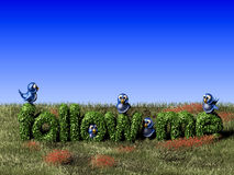 Blue twittering bird standing on a follow me hedge Royalty Free Stock Photos