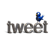 Blue twittering bird standing on the word tweet. Social media background with a blue bird Royalty Free Stock Photo