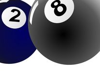Blue two billiard ball and black eight ball billiard. Two billiard ball vector image blue and black eight ball near and along Stock Image