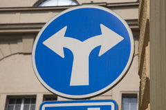 Blue Two Directions Traffic Sign Stock Photo