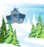 Blue two-story house  in a pine forest. Fairy two-story house with blue tiles in a pine forest. Winter landscape Stock Photos
