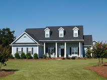 Blue Two Story Residential Home stock photo