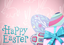 Blue type and pink gift and purple eggs against pink easter pattern. Digital composite of Blue type and pink gift and purple eggs against pink easter pattern Stock Image