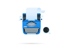 Blue typewriter. With a cup of coffee. Vector icon isolated on white Royalty Free Stock Image