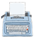 Blue typewriter  with paper cute l Stock Photo