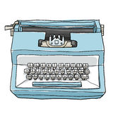 Blue typewriter vintage toy cute hand drawn art illustration Royalty Free Stock Photo