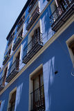 Blue typical facade in Madrid Royalty Free Stock Images