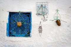 Blue typical window on white wall, Morocco, 2013 Stock Images