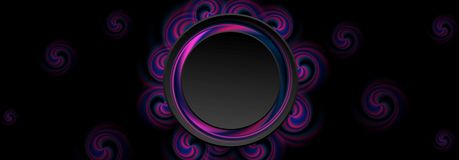 Blue and ultraviolet abstract circle swirls banner. Vector background stock illustration