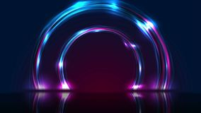 Blue ultraviolet neon glowing circles technology modern motion background