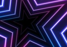 Blue ultraviolet neon glowing stars abstract background. Blue and ultraviolet neon glowing stars abstract background. Vector retro graphic design royalty free illustration