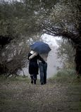 Blue umbrella. Couple with umbrella walking in rain Stock Photos