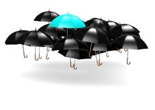 Blue umbrella. A rendered artwork with white background royalty free illustration