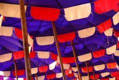 Blue umbrella. On the beach Royalty Free Stock Photography