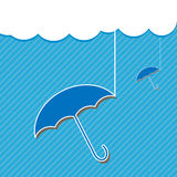Blue umbrella and Cloud Royalty Free Stock Images