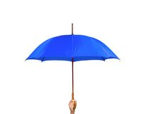 Blue umbrella in hand isolated on white Stock Images