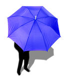 Blue umbrella and a man Royalty Free Stock Image