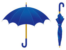 Blue umbrella, open and closed Royalty Free Stock Photography