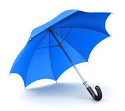 Blue umbrella or parasol. Creative abstract 3D render illustration of the blue umbrella or parasol with black handle isolated on white background vector illustration