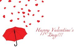 Blue umbrella and red hearts on white, Valentines day vector illustration