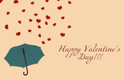 Blue umbrella and red hearts on beige, vintage Valentines day stock illustration