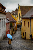 Blue Umbrella In Sighisoara Romania Royalty Free Stock Photography