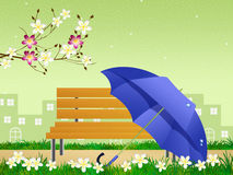 Blue umbrella in spring Stock Photos