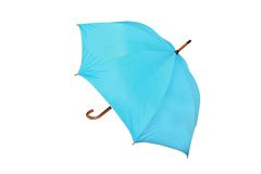 Blue umbrella in white background Stock Photo