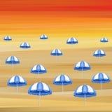 Blue umbrellas Stock Photos