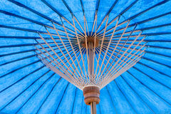 Blue unbleached cloth Handcraft umbrella. Under of Blue unbleached cloth Handcraft umbrella Stock Photo