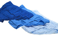 Blue underpants. Close up of blue cotton underpants isolated on white background Royalty Free Stock Photos
