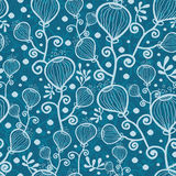 Blue underwater abstract plants seamless pattern Stock Photo