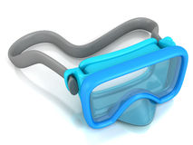 Blue underwater diving mask on white Stock Photo