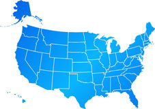 Blue United States. Vector clip art map of United States of America USA, with all fifty states showing, including Alaska and Hawai. Reference source: http://www Stock Image
