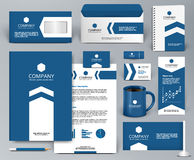 Blue universal branding design kit with arrow. Professional blue branding design kit with arrow for real estate/investment. Premium corporate identity template Stock Images