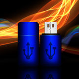 Blue universal flash drive on abstract background,flash drive il. Lustration Stock Photography