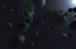 The blue universe 2. A fictional universe with a huge asteroid fileld and a bright blueish light source comming from the upper right stock photography