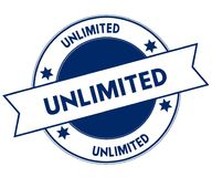 Blue UNLIMITED stamp. Illustration graphic concept image Stock Photography